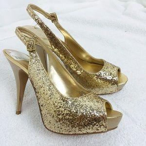 NINE WEST gold sequin heels